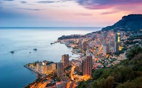 Wallpaper sunset, horizon, the sky, the evening, sea, coast, home, piers, mountains, ships, Monaco, Monte Carlo
