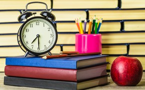 Wallpaper watch, books, Apple, pencils, alarm clock