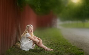 Picture road, summer, girl