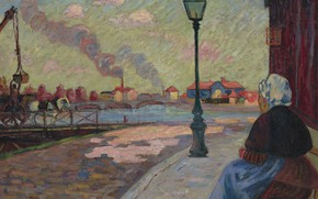 Picture river, street, picture, lantern, the urban landscape, Arman Hyomin, Armand Guillaumin, The Seine at Charenton