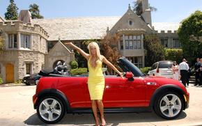 Picture look, girl, Girls, MINI, Sara Jean, red car