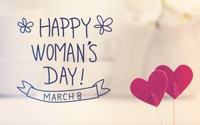 Wallpaper Women's Day, romantic, gift, March 8, hearts, heart, happy