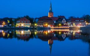 Picture the sky, water, lights, reflection, river, home, the evening, Germany, Holstein