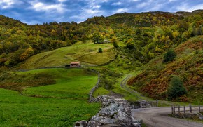 Picture road, autumn, trees, hills, field, Spain, Leon