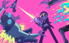 Picture squirt, yellow, green, gun, weapons, fly, grey, fire, pink, black, blood, dark, light, jeans, art, …