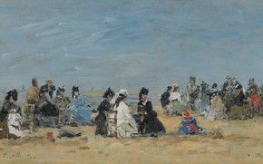 Picture people, picture, genre, Eugene Boudin, Eugene Boudin, Trouville. The scene on the Beach