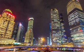 Picture night, skyscrapers, The city, China, Shanghai, night city