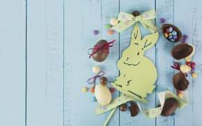 Picture rabbit, candy, Easter, Holiday, chocolate eggs