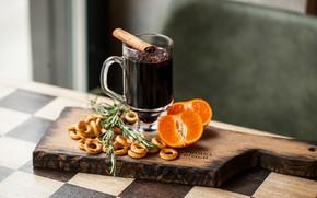Wallpaper drying, citrus, cinnamon, drink, carnation