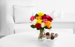 Wallpaper table, bouquet, roses, cake