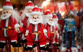 Picture macro, background, toys, Santa Claus