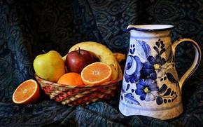 Picture Apple, orange, pitcher, fruit, banana, quince