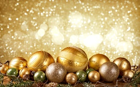 Picture New Year, Christmas, golden, christmas, balls, merry christmas, decoration, xmas