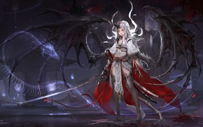 Wallpaper art, fantasy, anime, warrior