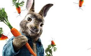 Picture cracked, wall, cartoon, rabbit, white background, poster, carrots, Peter Rabbit, The Adventures Of Peter Rabbit