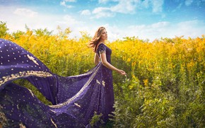 Picture field, summer, girl, the wind, dress