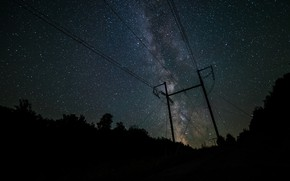 Picture stars, night, wire, the milky way