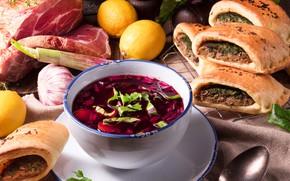 Picture lemon, soup, meat, vegetables, cakes, meat, pies