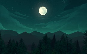 Picture stars, landscape, mountains, night, the moon, Firewatch
