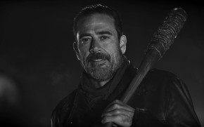 Picture blood, zombies, survivor, vampire, assassin, Jeffrey Dean Morgan, AMC, TV series, Lucille, barbed wire, villain, ...