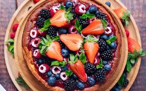 Picture berries, raspberry, strawberry, cake, BlackBerry, blueberries, cheesecake