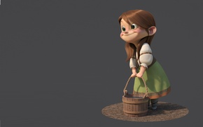Wallpaper mood, Gretel, girl, minimalis, bucket, smile, guzz soares, rendering, girl