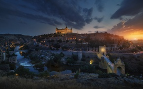 Wallpaper night, the city, lights, the evening, Spain, Toledo