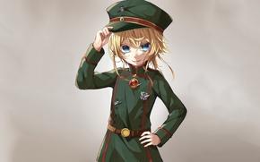 Picture girl, soldier, military, war, anime, chibi, blue eyes, cap, blonde, asian, pose, manga, oriental, asiatic, …