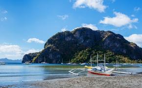 Picture The sky, Nature, Rock, Tropics, Boats, Rock, Coast, Philippines