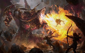 Picture fire, Archer, sparks, monster, red dragon, Yu Chao Cheng