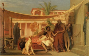 Picture picture, history, mythology, Jean-Leon Gerome, Socrates Finds Alcibiades in the House Aspasia