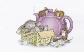Picture box, mouse, art, Bunny, friends, children's, Ellen Jareckie, kettle. tea. guests