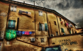 Wallpaper HDR, Home, Italy, Windows, The building, Italy, Italia, Town
