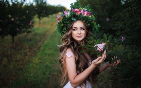 Picture girl, trees, flowers, makeup, garden, dress, hairstyle, brown hair, beautiful, wreath, long hair, bokeh, Roma, …