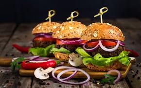 Picture mushrooms, bow, pepper, hamburger, roll, salad