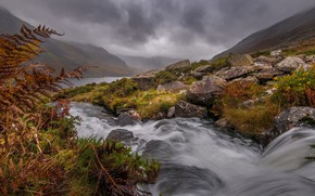 Wallpaper clouds, river, grass, stream, fog, slope, mountains, stones