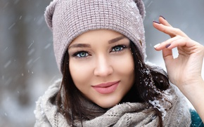 Wallpaper photographer, Denis Petrov, girl, winter, Angelina Petrova, snow, Angelina Petrova, cap, portrait