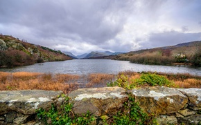 Picture clouds, landscape, mountains, lake, Wales, Llyn Padarn