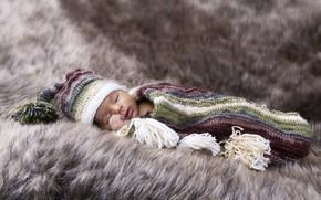 Picture baby, sleeping, fur, cap, baby