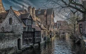 Picture autumn, building, home, channel, Belgium, Belgium, Bruges, West-Flanders, Bruges, West Flanders