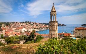 Picture sea, tower, home, yachts, panorama, Croatia, Hvar