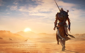 Picture the city, eagle, desert, the building, the evening, wolves, fortress, assassins creed, Egypt, Assassin's Creed …
