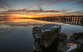 Picture sunset, lake, stones, Sweden, Sweden, Boholmen
