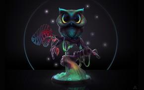 Picture night, tree, owl, Midnight Owl, Ashley A. Adams