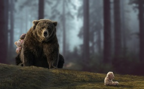 Picture the situation, bear, girl