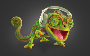 Picture headphones, art, children's, Chameleon, chameleon, rhenan fidelis
