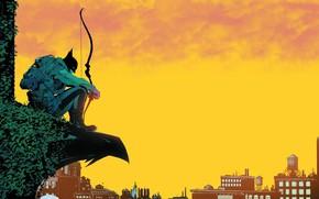 Picture The sky, Yellow, The city, Batman, Building, Bow, City, Hero, Mask, Comic, Sky, Superhero, Hero, …