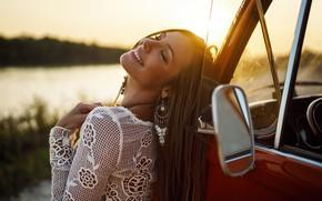 Picture auto, girl, joy, sunset