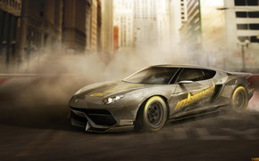 Picture Auto, Figure, The city, Lamborghini, Machine, Art, Supercar, Rendering, Asterion, Lamborghini Asterion, Yasid Oozeear