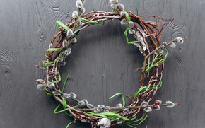 Picture branches, spring, Easter, wreath, wood, Verba, spring, Easter, decoration, Happy